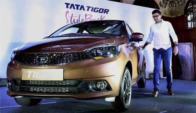 Kolkata: Vivek Srivatsa, Head-Marketing, Passenger Vehicle Business Unit, Tata Motors during launch of Tata Tigor, in Kolkata on Friday. PTI Photo by Ashok Bhaumik(PTI3_31_2017_000109A)