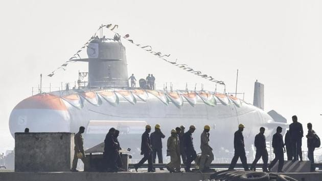Indian Navy personnel at the launch of a Scorpene submarine.(HT Photo/Representative image)