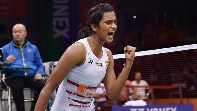 PV Sindhu beat Sung Ji Hyun in the India Open semi-final to set up a final with Olympic gold medallist Carolina Marin.(PTI)