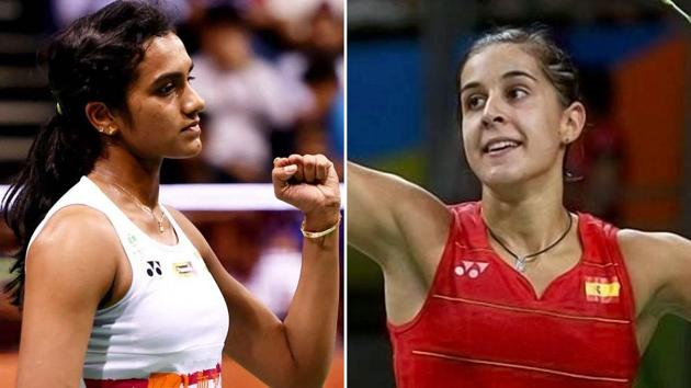 Carolina Marin leads PV Sindhu 5-4 in head-to-head encounters and the Indian shuttler will be seeking to even the scores in the India Open final.(Hindustan Times)