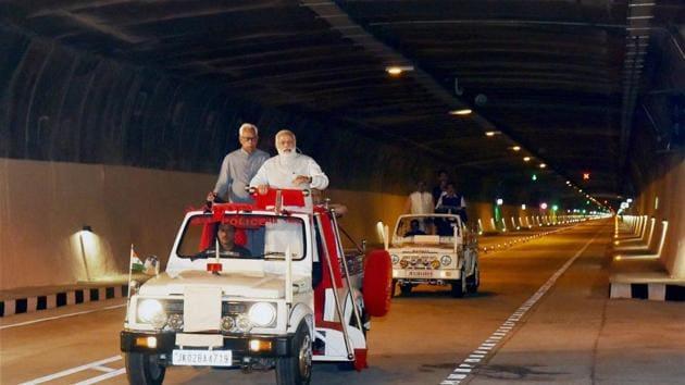 Prime Minister Narendra Modi after inaugurating the Chenani-Nashri Tunnel in Jammu and Kashmir on Sunday.(PTI Photo)