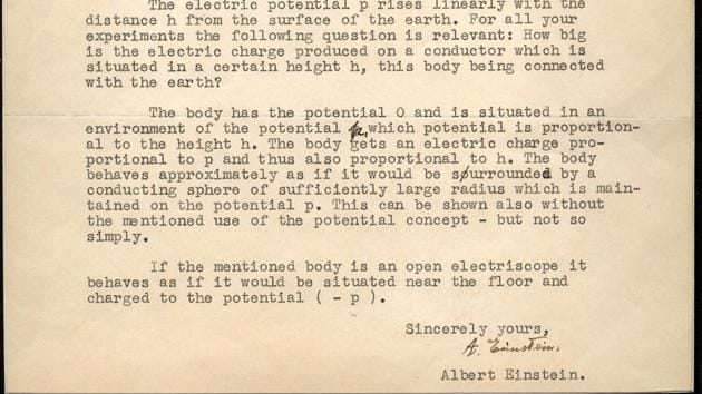 Einstein penned the letter in reply to a two-page questionnaire submitted by Arthur Converse, a science teacher from Iowa, concerning electrostatic theory and special relativity.(natedsanders.com)