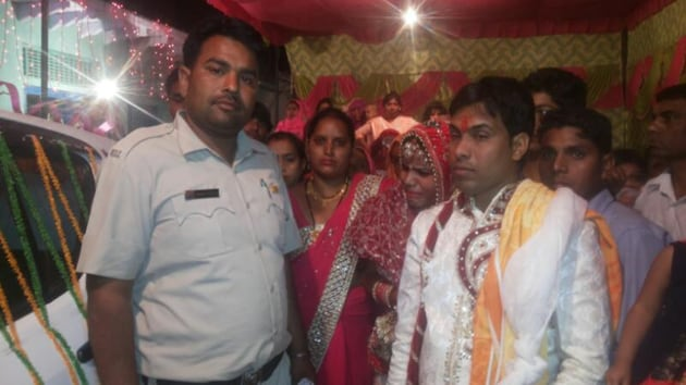 A cop guarding the marriage function after the incident.(HT Photo)