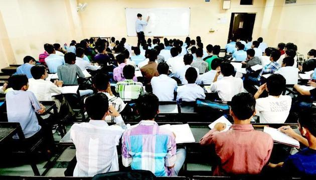 Coaching institutes in Kota like the one in this picture expect a surge in admissions from aspiring medical students after the success of their clients in the National Eligibility-cum-Entrance Test (NEET).(HT Photo)