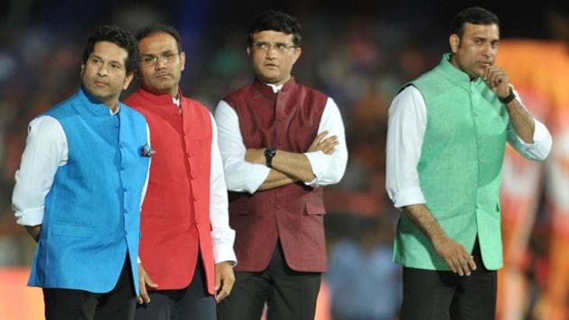 (L-R) Sachin Tendulkar, Virender Shehwag, Sourav Ganguly and VVS Laxman were felicitated during the opening ceremony of Indian Premier League (IPL) 2017. Get highlights of IPL 2017 opening ceremony here.(AFP)