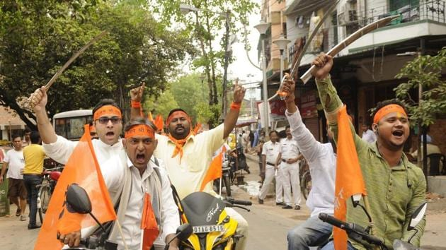 Hindu organisations took out a processions with swords on the occasion of Ram Navami in Kolkata on Wednesday.(Samir Jana/HT PHOTO)