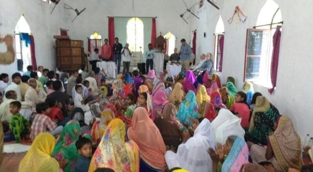 People inside the church on Friday. Eleven US nationals were also present in the church.(HT Photo)