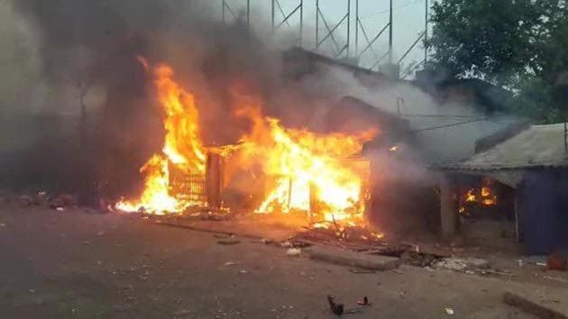 The town witnessed violence yesterday after derogatory comments on Ram and Sita were posted on a Facebook page.(HT Photo)