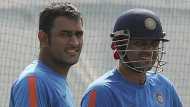 MS Dhoni (L) and Virender Sehwag (R) both have happy memories at the Holkar Stadium in Indore, and will be keen to hit the old high note during the Kings XI Punjab vs Rising Pune Supergiants IPL 2017 T20 match on Saturday.(Hindustan Times via Getty Images)