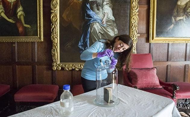 The smell of an 18th century Bible is extracted in the Spangled Bedroom of Knole House.(AFP)