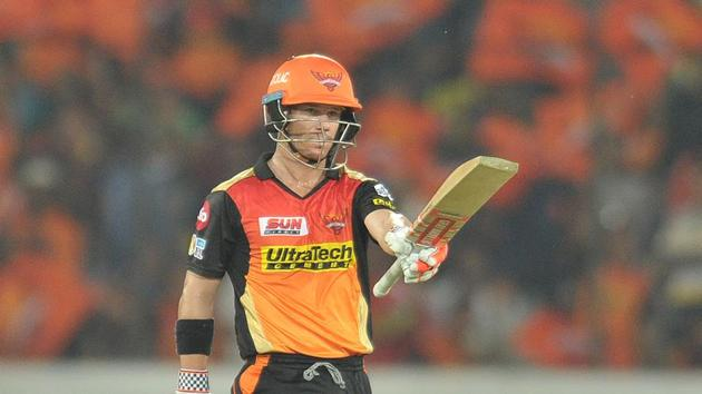 David Warner blasted an unbeaten 76 while Rashid Khan picked up 3/19 as Sunrisers Hyderabad defeated Gujarat Lions by nine wickets in the 2017 Indian Premier League.(AFP)