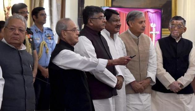 President Pranab Mukherjee declares the winners of government's Digi-Dhan schemes which were launched on December 25, 2016, at Rastrapati Bhawan in New Delhi on Sunday.(PTI)