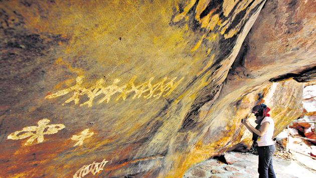The Bhimbetka rock shelters, now a Unesco World Heritage Site in Bhojpur of Madhya Pradesh's Raisen district, is an archaeological site of the Paleolithic era, exhibiting the earliest traces of human life on the Indian subcontinent.(Kalpak Pathak/ HT Photo)