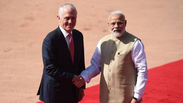 Prime Minister Narendra Modi with his Australian counterpart Malcolm Turnbull, New Delhi, April 10. Accompanying the Australian Prime Minister is Education Minister, Senator Simon Birmingham, and Vice Chancellors from Australia's highest ranked universities, the Group of Eight. It should therefore come as no surprise that education is high on the agenda of this important bilateral visit.(AFP)