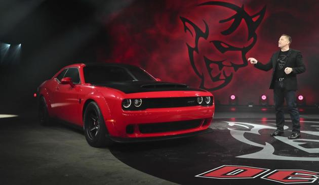 Dodge head of passenger car brands Tim Kuniskis talks about features for the 2018 Dodge Challenger SRT Demon during a media preview for the New York International Auto Show on Tuesday.