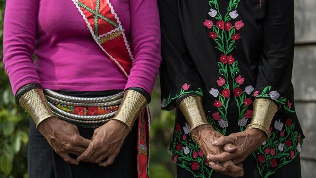 The ornamental accessories for the Semban women included the bangles, tumbih (beaded necklace), silver belts and headgear. (Mohd RASFAN / AFP)
