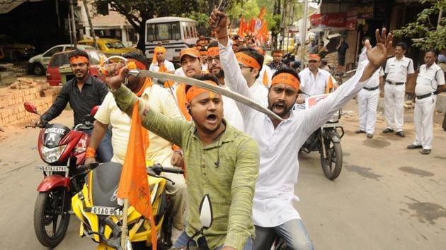 Hindu organisations took out processions on the occasion of Ram Navami in Kolkata.(Samir Jana)