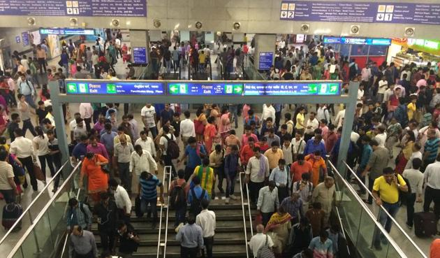 The pornographic video allegedly played at a platform at Rajiv Chowk metro station for less than a minute. A video of the incident is now being shared on social media.(Saumya Khandelwal/HT File)