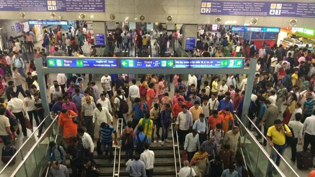 Over a week after a porn clip played on one of the LED screens at the busy Rajiv Chowk station, the DMRC on Monday said it has begun its probe.(HT Photo)