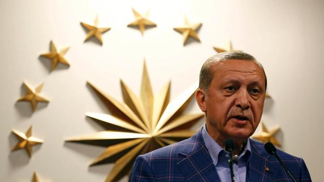 Turkish President Recep Tayyip Erdogan during a news conference in Istanbul, April 16. Erdogan is no longer the colossus he once was on the West Asian stage. Turkey's pretensions of having a major role in the affairs of Arab states have been embarrassingly exposed by its inability to exert much influence on the Arab state on its border.(REUTERS)