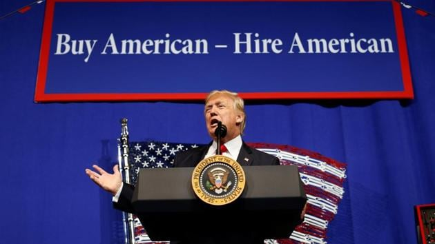 Donald Trump speaks before signing an executive order directing federal agencies to recommend changes to H1-B visa program in Kenosha, Wisconsin.(Reuters Photo)