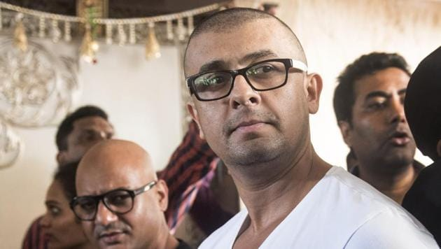 Singer Sonu Nigam, after he had his head tonsured in response to a reward announced by a Muslim cleric.(Satish Bate/HT Photo)