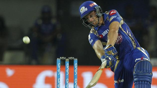 Jos Buttler of the Mumbai Indians bats during the 2017 Indian Premier League match against Kings X1 Punjab at the Holkar Stadium in Indore on Thursday. Get full cricket score of Kings XI Punjab vs Mumbai Indians here.(BCCI)