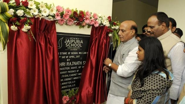 Union home minister Rajnath Singh inaugurating the new branch of Seth MR Jaipuria School at Kanpur Road in Lucknow on Friday.(Ashok Dutta/ HT Photo)
