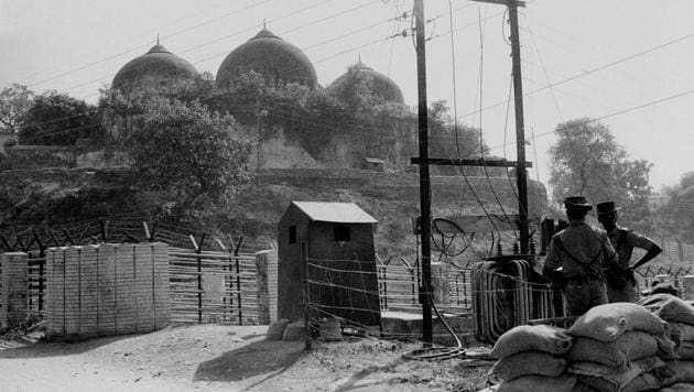 File photo of Babri Masjid in Ayodhya, November 1990. The Supreme Court on Wednesday revived the 25-year-old trial in the Babri Masjid demolition case by allowing fresh charges of criminal conspiracy against Bharatiya Janata Party (BJP) leaders L.K. Advani, Murali Manohar Joshi, Uma Bharti and 13 others.(PTI)