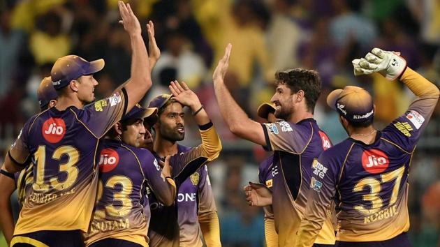Kolkata Knight Riders players celebrate their big win over Royal Challengers Bangalore in their 2017 Indian Premier League (IPL) match at the Eden Gardens on Sunday.(PTI)