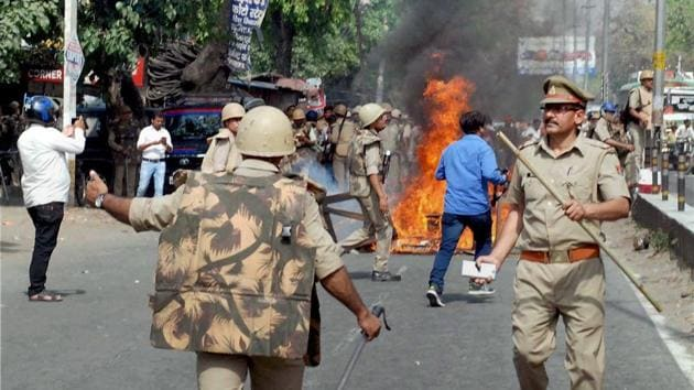 Police in action after a violence broke out during an Ambedkar Jayanti rally in Saharanpur on Thursday.(PTI FILE PHOTO)