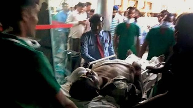 An injured CRPF jawan is being taken to Raipur for treatment following a Maoist attack at Burkapal near Chintagufa in Chattisgarh on Monday.(PTI Photo)