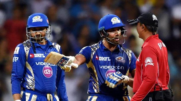 Mumbai Indians captain Rohit Sharma argues with an umpire during his team's Indian Premier League (IPL) match against Rising Pune Supergiants in Mumbai on Monday.(PTI)