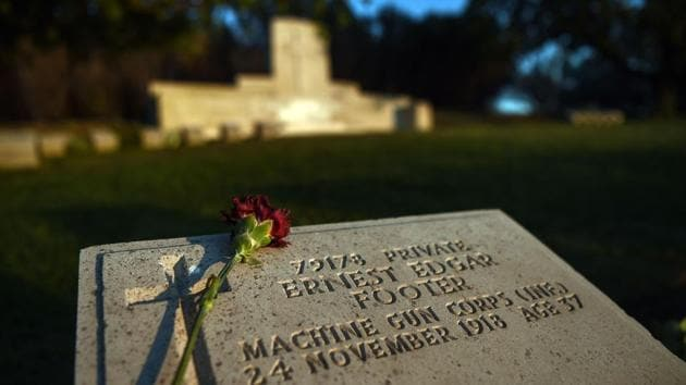 An ANZAC soldier's grave stone at the ANZAC cemetery, April 24, pictured to commemorate the 102th anniversary of the Anzac Day. On April 25, 1915 landing of the Australian and New Zealand Army corps (ANZAC) at Gallipoli in modern-day Turkey has become a defining symbol of courage and comradeship for both nations.(AFP)