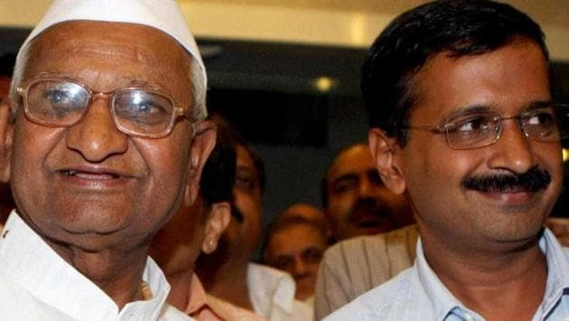 """Anti-corruption activist Anna Hazare said there was a difference between AAP's """"words and actions"""" which led to their defeat.(HT FILE)"""