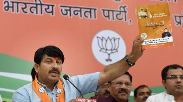 Delhi BJP chief Manoj Tiwari said the party decided to suspend all celebration in wake of the Maoist attack in Chhattisgarh's Sukma that killed 25 CRPF personnel on Monday(PTI)