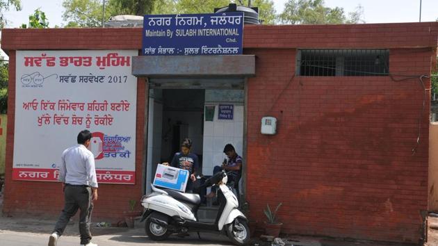 A public toilet on Ladowali road in Jalandhar.(HT Photo)