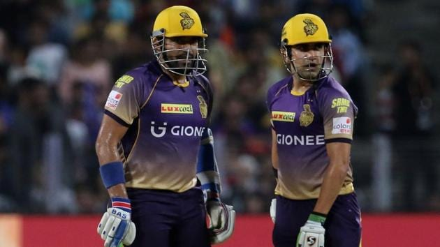 Kolkata Knight Riders captain Gautam Gambhir (right) and Robin Uthappa during their 2017 Indian Premier League match against Rising Pune Supergiants at the MCA Stadium in Pune on Wednesday. Get full cricket score of Rising Pune Supergiant vs Kolkata Knight Riders here.(BCCI)