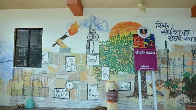 The state roped in artists to paint murals all over Bhilar, seeking to pique the interest of visitors.(HT)