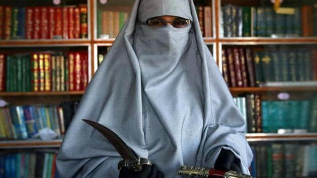 Asiya Andrabi, chief of the Dukhtaran-e-Milat.(Vikas Khot/HT File Photo)