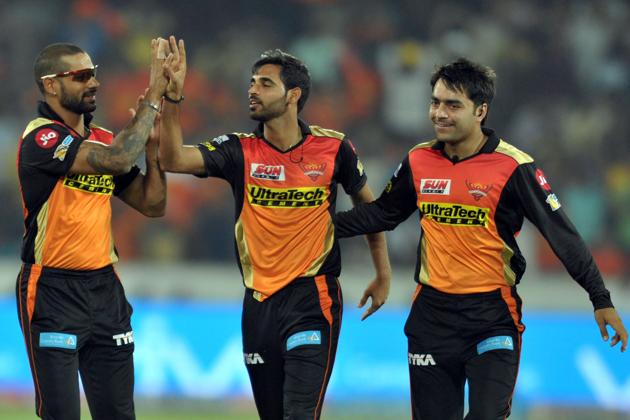 Sunrisers Hyderabad's Bhuvneshwar Kumar (C) has been the key for the David Warner-led side in this edition of the Indian Premier League.(AFP)