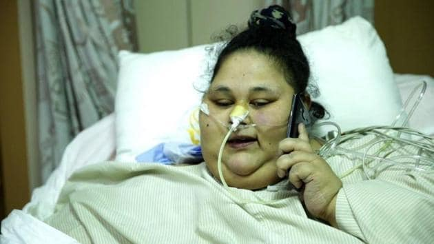 Ahmed, who supposedly weighed 500kg before her bariatric surgery, was all smiles when she arrived in Mumbai on February 11. Nearly three months later, she no longer greets her nurses with a smile.(HT)