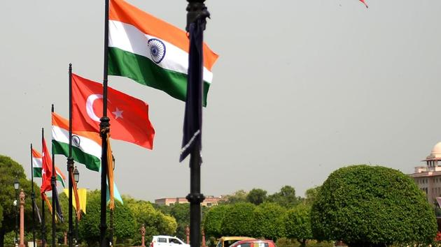 The national flags of India and Turkey fly on Rajpath ahead of an official visit by Turkish President Recep Tayyip Erdogan in New Delhi on April 30, 2017.(AFP Photo)