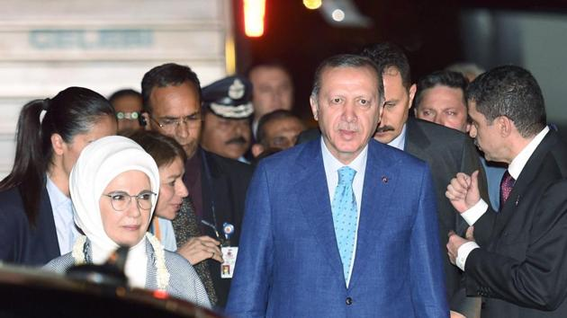 Turkish President Recep Tayyip Erdogan and his wife Emine Erdogan upon their arrival at AFS Palam in New Delhi on Sunday.(PTI)
