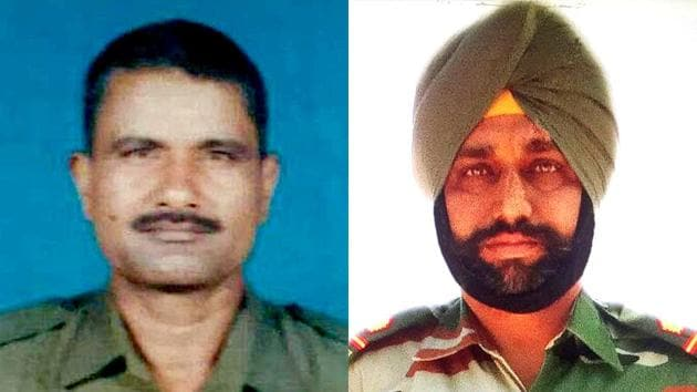Head Constable Prem Sagar of 200th Battalion of the BSF and Naib Subedar Paramjeet Singh of 22 Sikh Regiment of the army were killed and their bodies mutilated.(HT Photo)