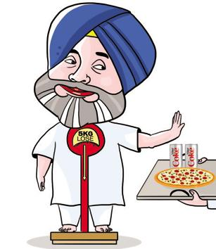 Having lost five kilograms in as many weeks, he wants to shed more. Sukhbir, as per his aides, has been so fond of diet coke and pizzas that even his party's jathedars used to arrange junk food for him in far-flung areas of the state.(Illustration by Daljeet Kaur Sandgu/HT Photo)