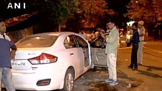 Three of the four people in the car died on the spot.(ANI photo)
