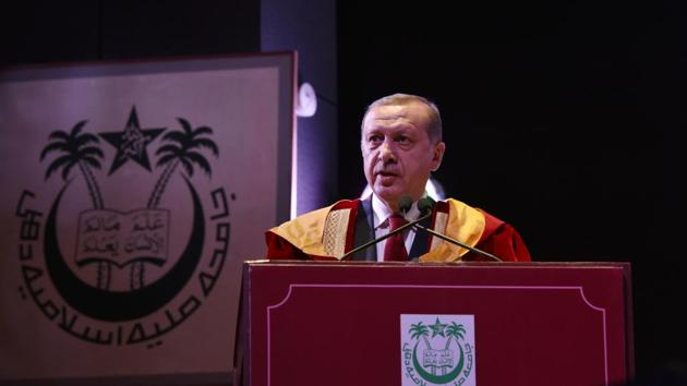 Turkish President Recep Tayyip Erdogan speaks after receiving the degree of doctor of letters (honoris causa) from Jamia Millia Islamia University in New Delhi on May 1, 2017.(HT PHOTO)