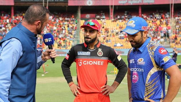 Mumbai Indians play Royal Challengers Bangalore in an IPL 2017 match at Wankhede Stadium today. Get live cricket score of MI vs RCB here.(BCCI)