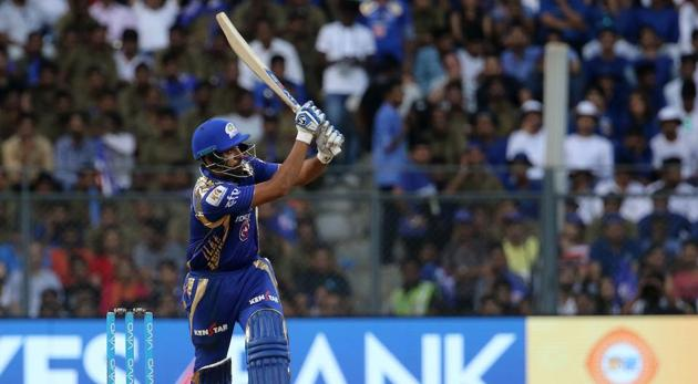 Rohit Sharma in action during match 38 of 2017 Indian Premier League between Mumbai Indians and Royal Challengers Bangalore at the Wankhede Stadium. Get full cricket score of Mumbai Indians vs Royal Challengers Bangalore here(BCCI)